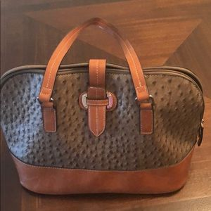 Handbags - Hand bag greenish/gray with brown trim